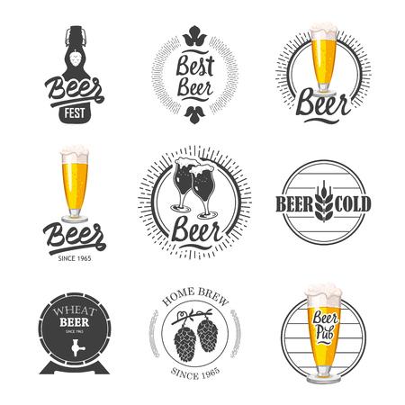Vector Illustratie met bier pub logo en labels. Eenvoudige symbolen met glas en fles. Tradities van drank. Decoratieve elementen voor uw ontwerp. Zwart-wit stijl.