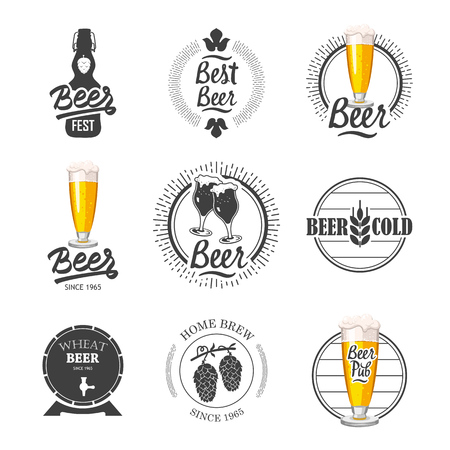 Vector Illustration with beer pub logo and labels. Simple symbols with glass and bottle. Traditions of drink. Decorative elements for your design. Black and white style.