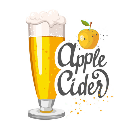 Drink menu. Vector illustration with cider apple glass in sketch style for pub menu. Vector illustration with alcoholic beverages.