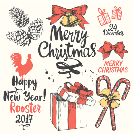 Christmas vector illustration set in sketch style. Present on white background. Beautiful gift box with ribbon, holiday lettering, funny symbols. Happy new year.