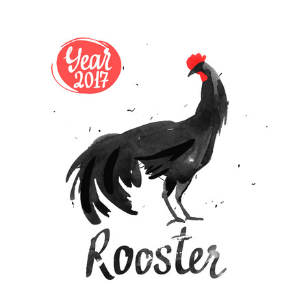 chinese watercolor: Silhouette of the cock. Sketch style. Watercolor illustration with black and white roosters. Brush drawings. Chinese New Year 2017.
