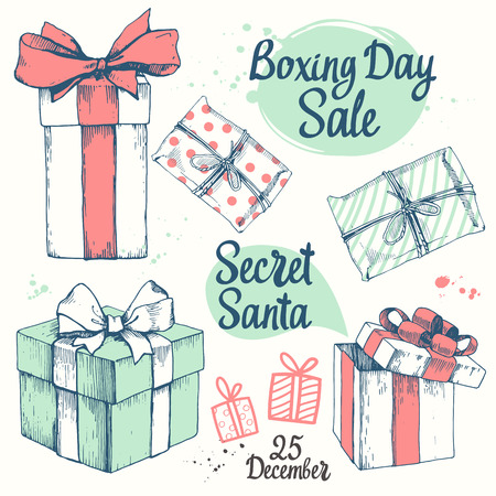 old postcards: Vector holiday illustration set. Christmas present on white background. Beautiful gift box with ribbon in sketch style. Boxing day. Secret Santa party.