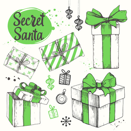 christmas present box: Vector holiday illustration set. Christmas present on white background. Beautiful gift box with ribbon in sketch style. Boxing day. Secret Santa party.