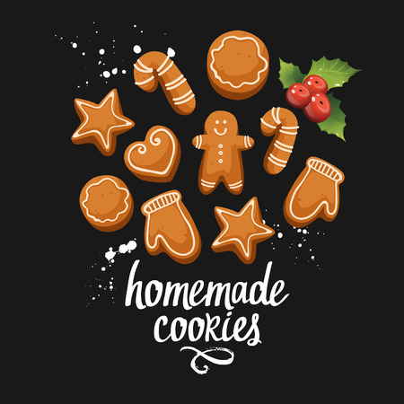 galletas de jengibre: Vector illustration to celebrate the new year on black background with holiday homemade ginger cookies. Handwritten inscription. Lettering design.