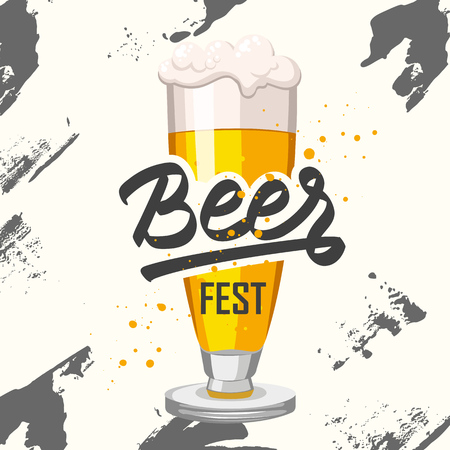 alcoholic: Drink menu. Vector illustration with beer glass in sketch style for pub. Alcoholic beverages.