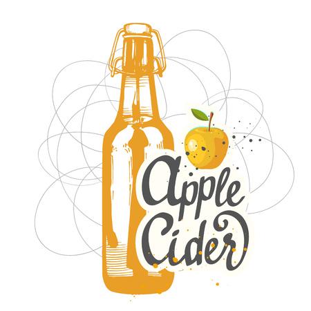 bebidas alcohÓlicas: carta de bebidas. Ilustración del vector con la botella de sidra de manzana en el estilo de dibujo de pub. Bebidas alcohólicas. Vectores