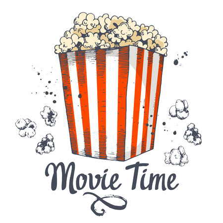 Vector illustration with sketch popcorn bucket. Cinema snack. Hand drawn fast food. Movie Time poster.
