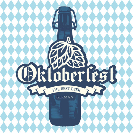 Oktoberfest icon. Drink menu. Vector illustration with beer bottle in sketch style for pub. Alcoholic festival beverages on blue chess background. Illustration