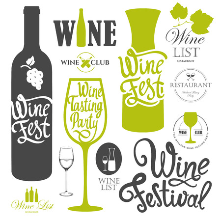 wine bottles: Vector illustration with labels, bottle, glass sketch style. Alcoholic beverages set. Wine festival. Brush calligraphy elements for your design. Handwritten ink lettering.