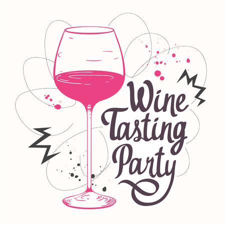 bebidas alcohÓlicas: Ilustración del vector con el vidrio en el estilo de dibujo para la lista de vinos. Cartel bebidas alcohólicas. Partido de la prueba. elementos de caligrafía cepillo su diseño. letras de tinta manuscrita.
