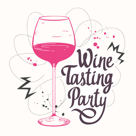 beverage: Vector illustration with glass in sketch style for wine list. Poster alcoholic beverages. Tasting party. Brush calligraphy elements your design. Handwritten ink lettering.