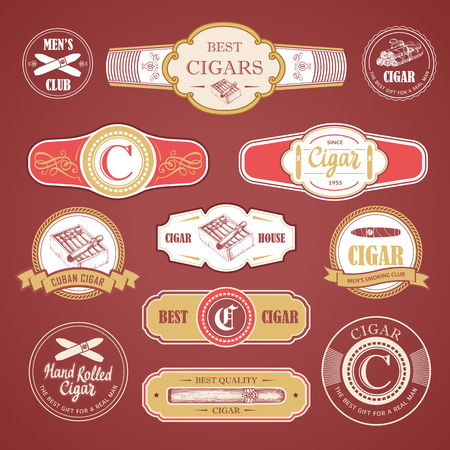 Vector Illustration with logo and labels. Simple symbols tobacco, cigar. Traditions of smokeke. Decorative elements, icon for your design. Gentleman style. Stock Illustratie