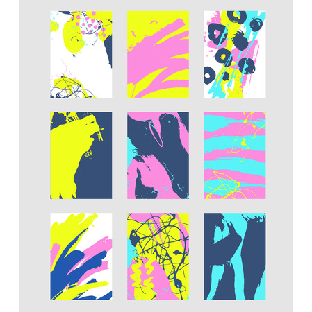 Set di pattern astratto multicolore con texture creativa. Illustrazione vettoriale di colpi di vernice, spray. Sfondo disegnato a mano. Archivio Fotografico - 68194789