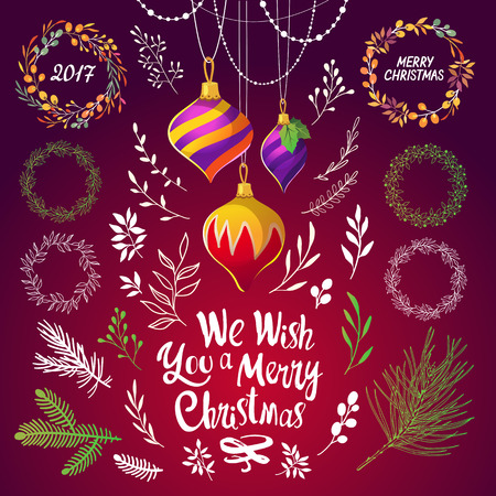 Christmas vector illustration set in sketch style. Present on red background. Beautiful new year funny symbols: pine branch, decorations, tinsel, balls and holiday lettering. Illustration