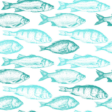 Vector illustration with sketches of fish. Hand-drawn seamless background blue color. Seafood pattern.