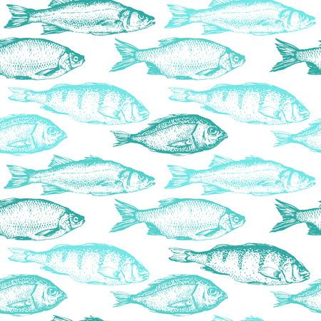 Vector illustratie met schetsen van vis. Met de hand getekende naadloze achtergrond blauwe kleur. Zeevruchtenpatroon.