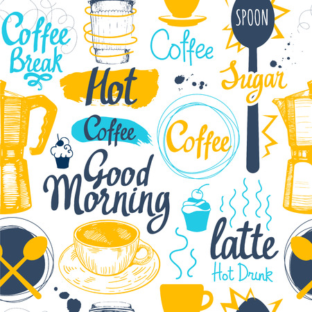 hot cup: Seamless sketch background. Hot drinks menu. Vector Illustration pattern with cup, coffee maker, beans, spoon, labels.