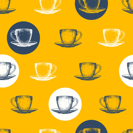 party drinks: Seamless background with cups. Tea party. Vector funny Illustration of drinks pattern on white. Decorative elements for your packing design. Yellow decor.
