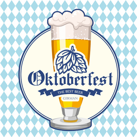 Oktoberfest icon. Drink menu. Vector illustration with beer glass in sketch style for pub. Alcoholic festival beverages on blue chess background.