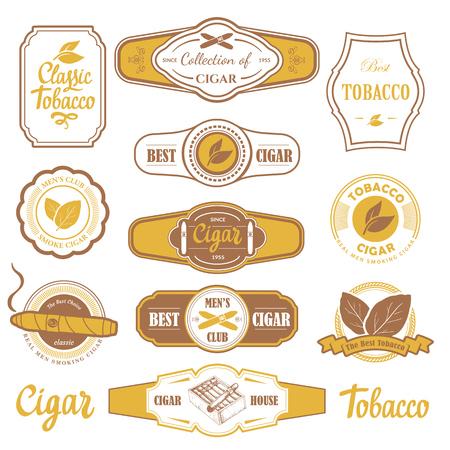 Vector Illustratie met logo en labels. Eenvoudige symbolen tabak, sigaar. Tradities van smokeke. Decoratieve elementen, pictogram voor uw ontwerp. Gentleman stijl. Stock Illustratie