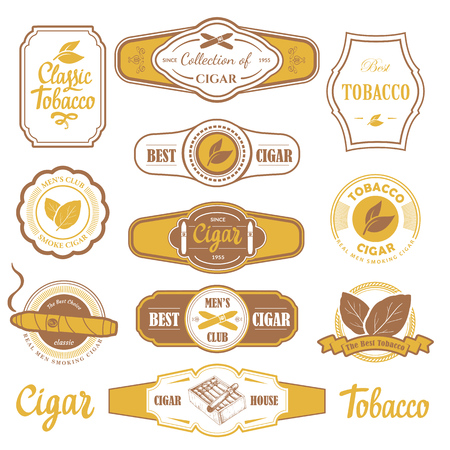 Vector Illustration with logo and labels. Simple symbols tobacco, cigar. Traditions of smokeke. Decorative elements, icon for your design. Gentleman style. 向量圖像
