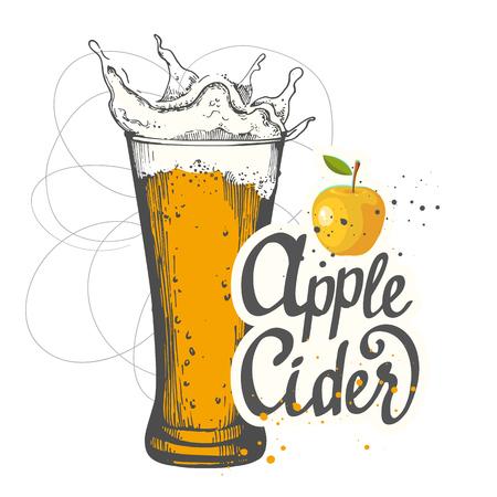 bebida: menu de bebidas. Ilustração do vetor com vidro cidra de maçã no estilo do esboço para o pub. bebidas alcoólicas. Banco de Imagens