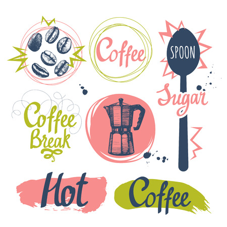 Set of sketch coffee funny labels on white background. Hot drinks menu. Vector Illustration with cup, maker and spoon. Decorative elements for your packing design. Multicolor decor. Illustration