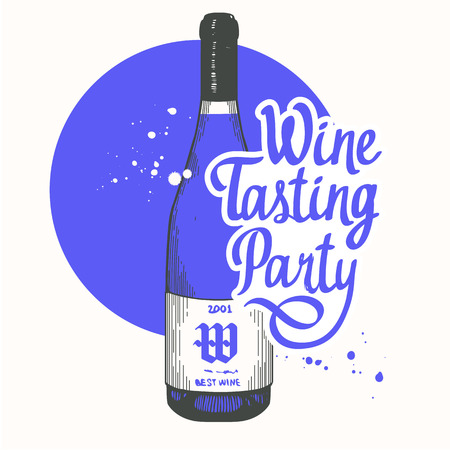 Vector illustration with bottle in sketch style for wine list. Poster alcoholic beverages. Tasting party. Brush calligraphy elements your design. Handwritten ink lettering.