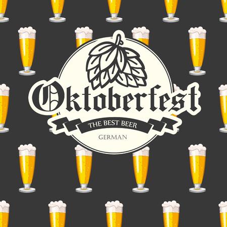 bebidas alcohÓlicas: Seamless background with beer glass. Vector illustration for pub menu. Oktoberfest pattern. Alcoholic beverages.