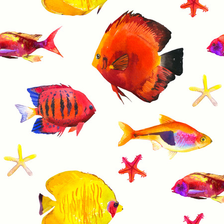 tetra fish: Seamless pattern with tropical fish. Watercolor illustration with hand drawn aquarium exotic fish on white background.