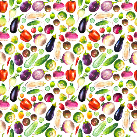 food products: Watercolor illustration with composition of farm grown products. Seamless pattern on white background. Vegetables set: pepper, cucumber, turnip, radish, eggplant, tomato. Fresh organic food. Stock Photo
