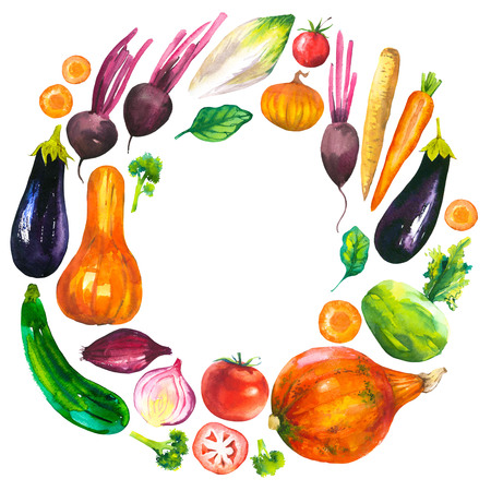 food products: Watercolor illustration with round composition of farm products. Vegetables set: eggplant, pumpkin, zucchini, onion, tomato, broccoli, beets, carrots, cabbage kohlrabi. Fresh organic food.