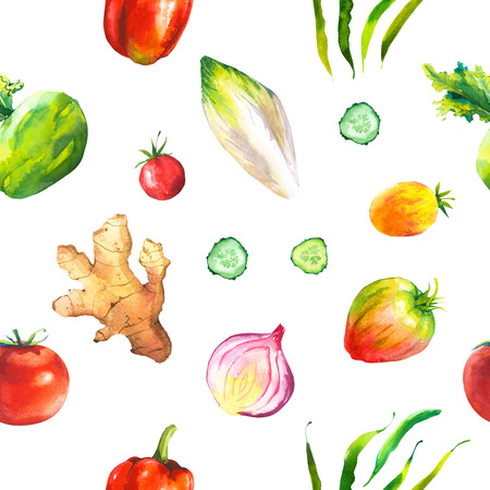 root vegetables: Watercolor illustration with composition of farm grown products. Seamless pattern on black background . Vegetables set: ginger root, green beans, tomato, onion, kohlrabi. Fresh organic food.
