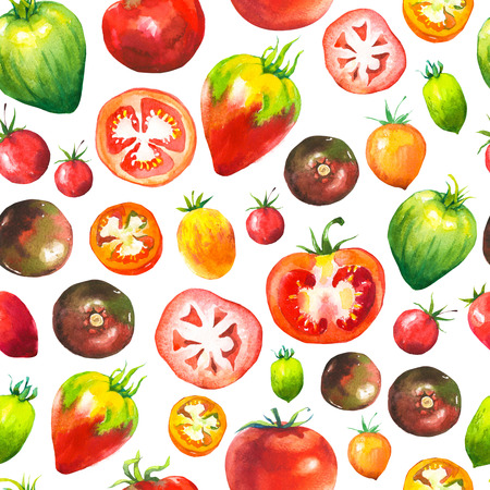peasant: Vegetables watercolor set. Seamless pattern. Fresh organic food. Set of different kinds of tomatoes: green, orange and red colors. Simple painting sketch.