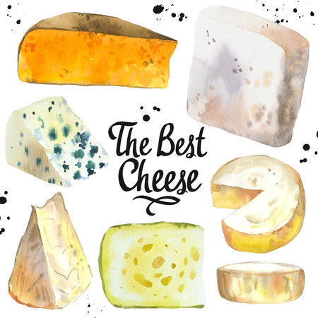 Watercolor illustration with different noble cheeses: camembert, gouda, parmesan, blue, edammer, maasdam, brie, roquefort. Snack bar. Farm dairy products. Fresh organic food. Stock Photo