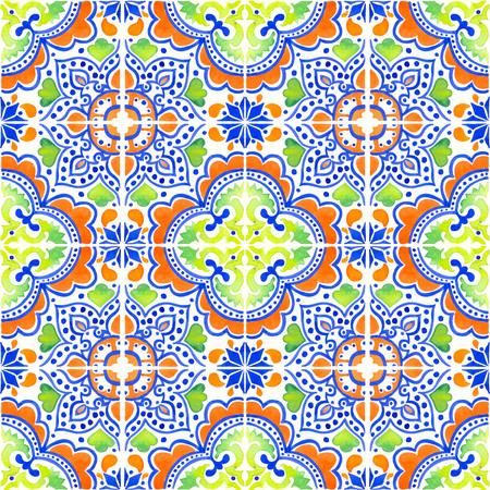 포르투갈어 타일과 원활한 패턴입니다. 흰색 배경에 Azulejo의 수채화 그림입니다. 여러 가지 빛깔의 디자인. 스톡 콘텐츠