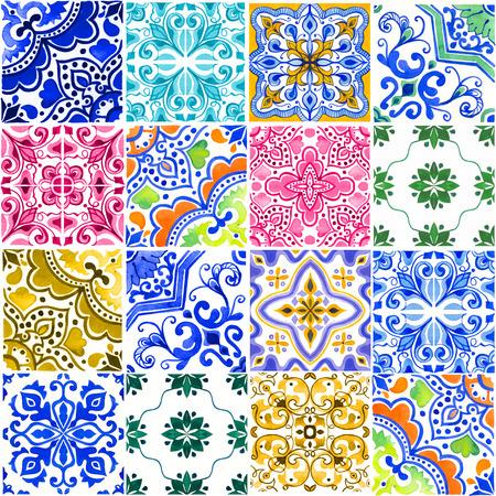 포르투갈어 타일과 원활한 패턴입니다. 흰색 배경에 Azulejo의 수채화 그림입니다. 여러 가지 빛깔의 디자인. 스톡 콘텐츠 - 85542718