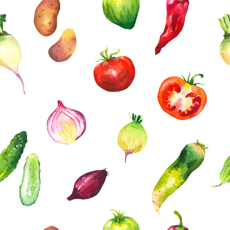 peasant: Watercolor illustration with composition of farm grown products. Seamless pattern on white background. Vegetables set: potatoes, turnips, tomato, cucumber, root, onion. Fresh organic food.