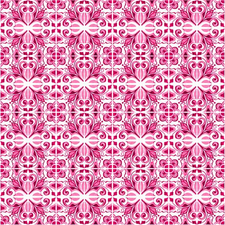 포르투갈어 타일과 원활한 패턴입니다. 흰색 배경에 Azulejo의 수채화 그림입니다. 핑크색. 스톡 콘텐츠 - 85542727