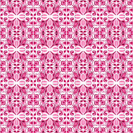 Seamless pattern with with Portuguese tiles. Watercolor illustration of Azulejo on white background. Pink color. Фото со стока