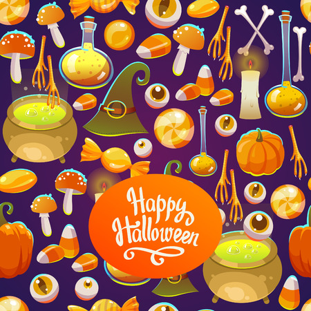 Seamless halloween pattern. Funny background with scary objects. Vector illustration with eyes, candle, toadstool, potion, pumpkin, pumpkin, witches hat in cartoon style. Illustration