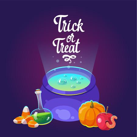 Composición de Halloween. Pote divertido con la poción azul, manzana con gusano, calabaza y caramelos de miedo. Ilustración vectorial para vacaciones en estilo de dibujos animados. Foto de archivo - 84731968