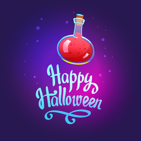 Halloween composition. Funny vector illustration with red potion for holiday in cartoon style.