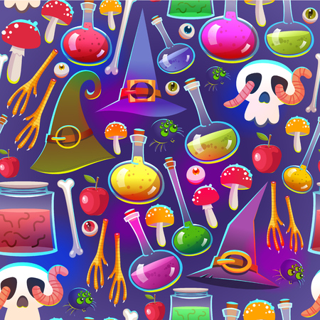 Seamless halloween pattern. Funny background with scary objects. Vector set with eyes, potion, spider, candy, apple with worm, witches boots in cartoon style.