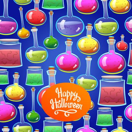 Patrón de halloween sin fisuras. Fondo divertido con objetos de miedo. Vector conjunto con pociones de colores en estilo de dibujos animados. Foto de archivo - 84855082