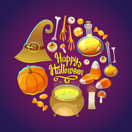 Halloween round composition. Funny background with scary objects. Vector set with eyes, potion, candies, witches hat, chicken feet and pumpkin in cartoon style.