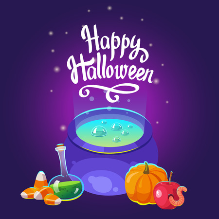 Halloween composition. Funny pot with blue potion, apple with worm, pumpkin and scary candies. Vector illustration for holiday in cartoon style. Illustration