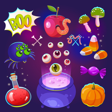 Halloween witches set with funny and scary objects. Vector illustration of eyes, pot with potion, pumpkin, candy, chicken feet, hat in cartoon style.