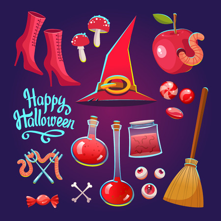 Halloween witches set with funny and scary objects. Vector illustration of eyes, potion, broom, candies, toadstool, hat and boots in cartoon style.
