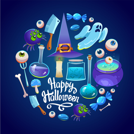 Halloween Round composition. Funny background with scary objects. Vector set with eyes, potion, spider, candy, bringing, witches hat in cartoon style.